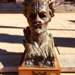 The bust of Swedish author August Strindberg outside Stockholm's Royal Dramatic Theatre